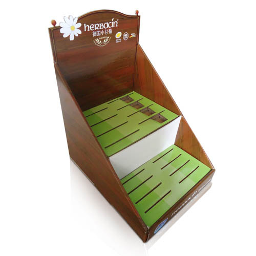 POS corrugated table top tiered display stand factory