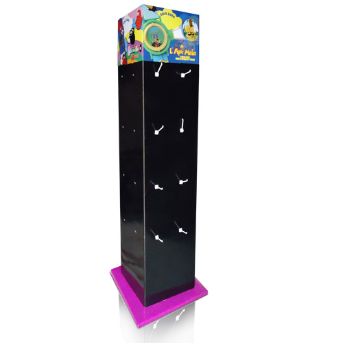 Rotation Advertising Four Sides Sidekick Corrugated Cardboard Peg Hook Displays for Retail